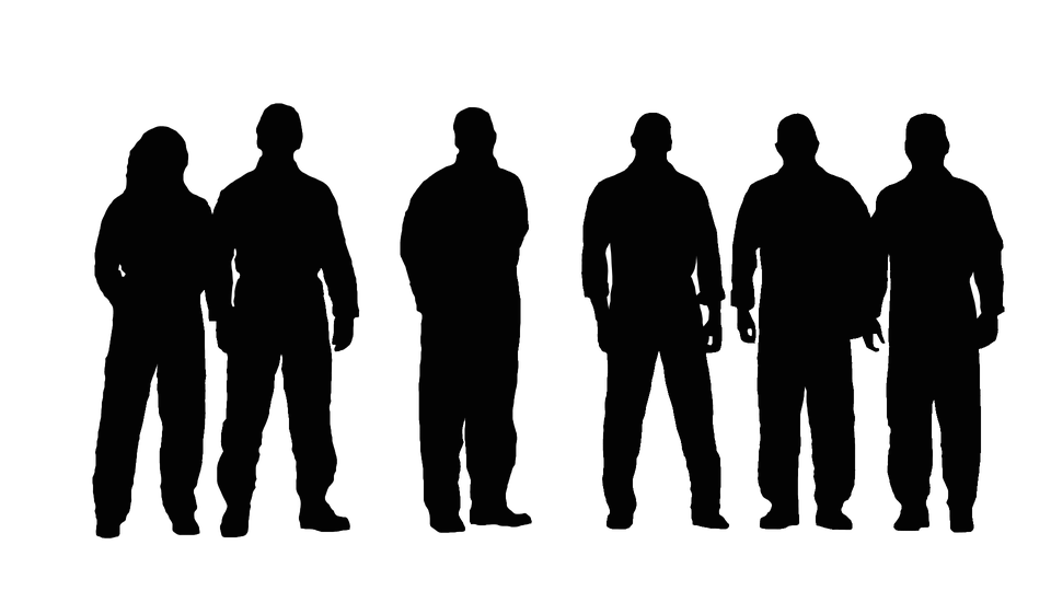 silhouette men group